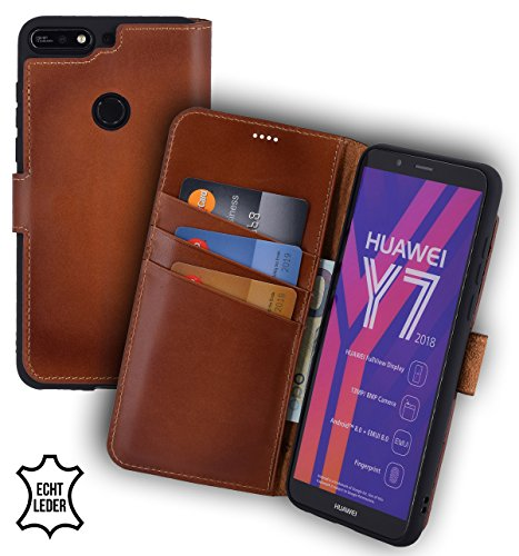 Suncase Book-Style (Slim-Fit) Leather Case Mobile Phone Case Cover (met standaard functie en kaartenvak - onbreekbare binnenschaal) voor Huawei Y7 (2018), gebrand cognac