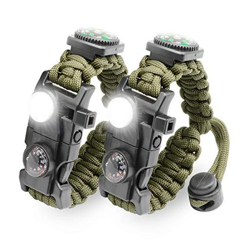 LeMotech Survival-Armband, 21 in 1, verstellbares Survival-Armband mit Paracord-Armband, Überlebensausrüstung, Kompass, SOS-LED-Licht, Pfeife, Feuerstarter, Thermometer, Wandern, Camping Jagd