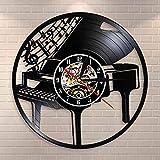NIGU Reloj vintage Instrumento musical Piano Reloj de pared Melodía Piano Piano Piano Pared Partitura Vinilo Record Pianista Músicos Regalo Decoración records
