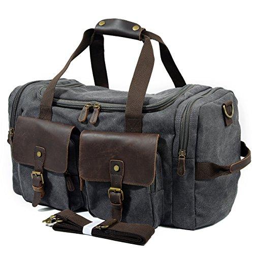 Taoqiao Reisetasche Canvas Echtes Leder Travel Overnight mit Schuhfach Reisetasche Weekender Bag für Herren