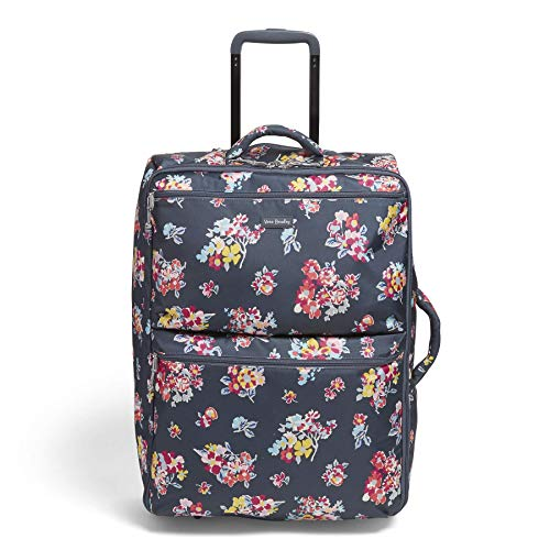 Vera Bradley Women's Lighten Up Large Softside Foldable Rolling Suitcase Luggage, Tossed Posies