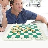 Cherishly Juego de tablero de ajedrez de cuero de ajedrez plegable, cuero de ajedrez portátil con correa para el hombro Viaje enrollable para principiantes entusiastas del ajedrez fit