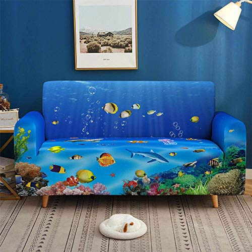 HXTSWGS Stretch Sofa Cover,3D Colorful Sofa Covers, Stretch Slipcovers Sectional Elastic Stretch for Living Room Couch Cover L shape-SFW006_2-seater 145-185cm