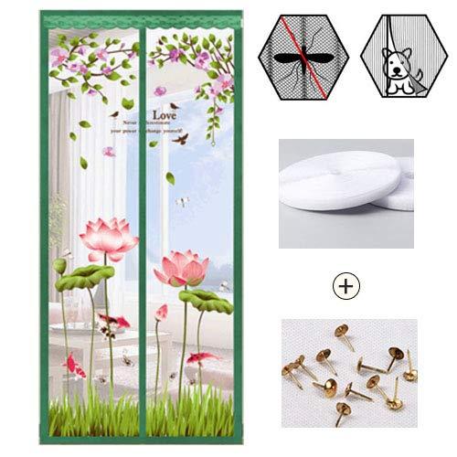 Insektenschutz Vorhang Magnet,Sommer Belüftung Fliegengitter Fenster Magnet,Automatisches Siegel Insektenschutz Türvorhang Vert 80x195cm(31x77inch)