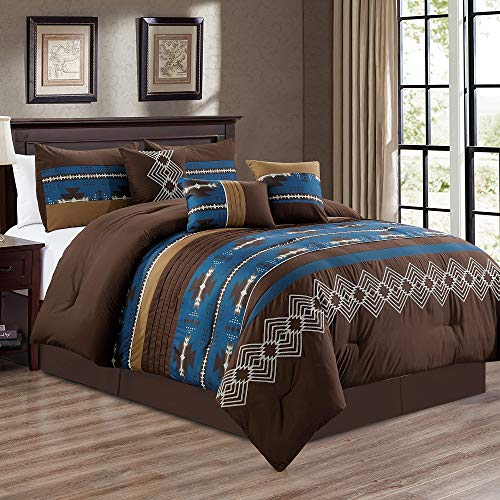 WPM WORLD PRODUCTS MART 7 Piece Western Southwestern Native American Design Comforter Set Multicolor Coffee Brown Embroidered Size Bed in a Bag Navajo Bedding Set- Makala (Navy Blue, Queen)