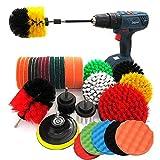 Juego de 37 piezas de cepillo de taladro, kit de cepillo de taladro con extensión de fijación larga, kit de limpieza para fregaderos, pisos, selladores de azulejos, bañera, ruedas, alfombra