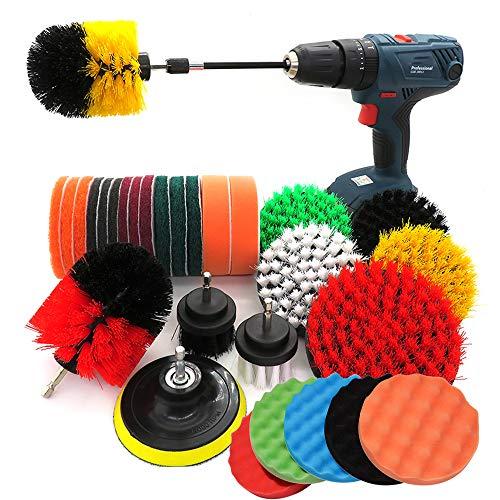 37 PCS Bohrmaschine Bürstenaufsatz Bohrbürsten Befestigung Scrubber Reinigung Kit Mit ausziehbarem langem Aufsatz, Reinigungskissen-Reinigungsset für Waschbecken Boden Fliesendichtmittel