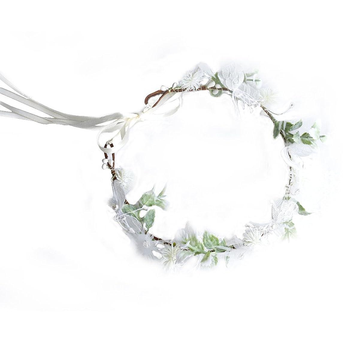 Miguor lace White Flowers Bridal Wreath Headband for Wedding Decor