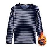 YWSZJ Vellón de invierno hombres calientes ropa interior camiseta rayada manga larga camiseta térmica de algodón grueso gran tamaño grande (Color : A, Size : 6XL-120-130KG)