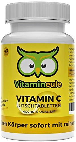 Vitamin C Lutschtabletten - hochdosiert mit 600mg - für Kinder & Veganer geeignet - ohne künstliche Zusätze - für das Immunsystem - Qualität aus Deutschland - Vitamineule®