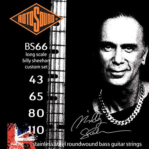 Rotosound Edelstahlsaiten Billy Sheehan für E-Bass, Runddraht, Stärke 43 65 80 110