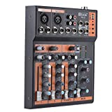 Ammoon Mischpult 4 Kanäle, Mikrophon, Audio-Mixer, 3-Band-Equalizer, USB-Schnittstelle, 48 V, Phantom Power mit Adapter-Energie