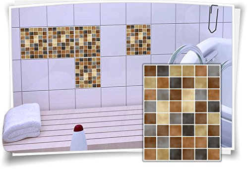 Fliesenaufkleber Fliesenbild Fliesen Fliesenimitat Aufkleber Mosaik Braun Schwarz, 12 Stück, 15x20cm