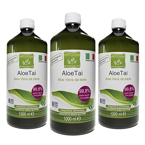3 x 1000 ml ALOE VERA A BOIRE PUR A 99,8% - PRODUIT ITALIEN