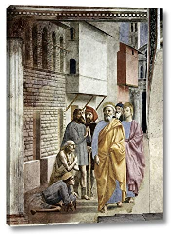 """Saint Peter Following Saint John As He Heals The Sick with His Shadow by Masaccio - 22"""" x 30"""" Canvas Art Print Gallery Wrapped - Ready to Hang"""