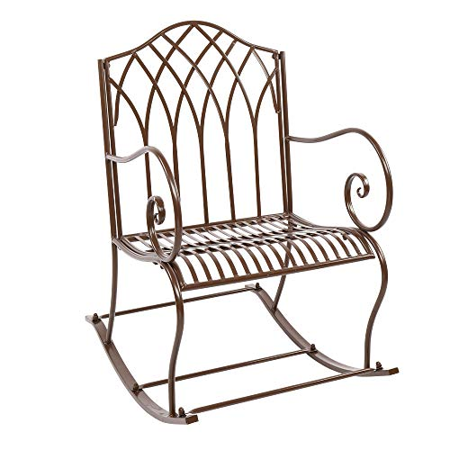 Tuankay Iron Art Rocking Chair, Freestyle Single Pull Recliner, High Back Armchair for Patio, Backyard, Outdoor Garden