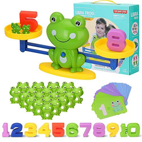 Mathe Spielzeug Waage, Zählen und Rechnen Lernen Montessori Lernspielzeug Balance Geschicklichkeit mit Waage und Numer Karte Frühen Bildung für Kinder ab 3 4 5 6 Jahhre (Frosch)