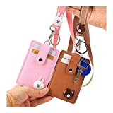 2 Packs ID Cards Badge Holder with Lanyard, Cute Leather Credit Card Holder with 2-Sided 3 Slot and Key Ring for Women Girls (Bear & Rabbit)