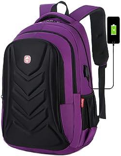 "Backpack, Multifunctional EVA Protect Shell 15"" Laptop Backpack USB Charge Port Mochila Travel Bag Waterproof Schoolbag,Purple,Russian Federation,MultipurposeDurable"