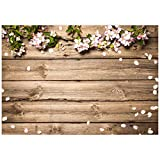 Allenjoy 7x5ft Vinyl Rustic Wood Wedding Flowers Backdrop Wooden Texture Board Floor Wall Photography Backgrounds for Mother's Day Bridal Baby Shower Birthday Party Decor Banner Photo Studio Props