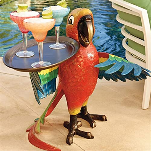 Drink Serving Parrot Butler, Parrot Statue Tray,Animal Side Table Sculptures Patio Table Furniture Resin Statues Table Sculptures Craft 22x20cm