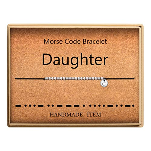 Mother and Daughter Morse Code Bracelet Initial C Disc Charm Morse Code Bracelet Beads on Adjustable Silk Cord Inspirational Gift for Women