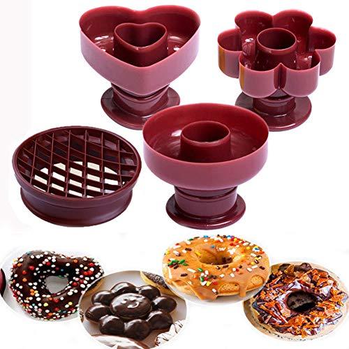 Donutform,4 Pack DIY Backen Donut Form Kunststoff Kuchen Fondantform Kuchenform dekorieren Tools Desserts Brot Cutter Maker Backform Küche Werkzeug
