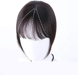 Vergeania 女性のフルハンド織り前髪リアルヘアウィッグヘアエクステンションヘアエクステンションパーティーかつら (色 : [9x14] 25cm natural black)
