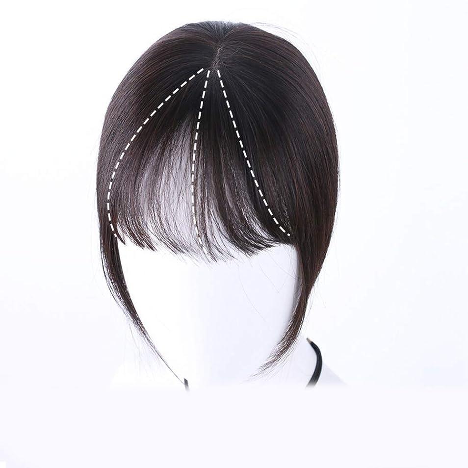 北米鎮痛剤ヒュームYrattary 女性のフルハンド織り前髪リアルヘアウィッグヘアエクステンションヘアエクステンションパーティーかつら (Color : [9x14] 20cm dark brown)