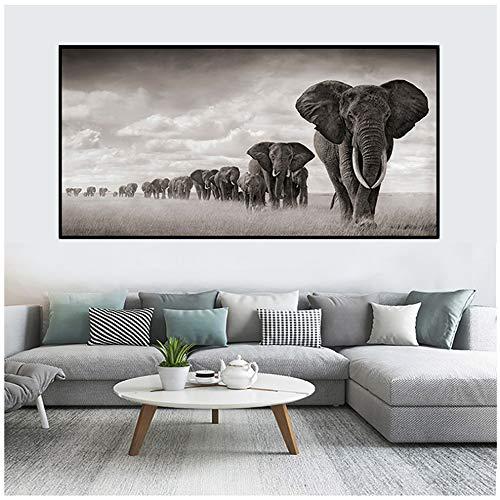 Cartel de Dos Leones africanos Wild Freedom Animal Impreso Arte Lienzo Pintura Imagen de la Pared Decoración del hogar para el Dormitorio Sala de estar-70x140 cm Sin Marco