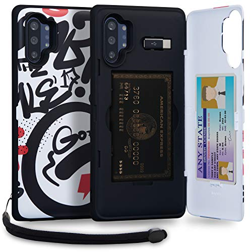 TORU CX PRO Note 10 Plus Wallet Case Pattern Colorful with Hidden Credit Card Holder ID Slot Hard Cover, Strap, Mirror & USB Adapter for Samsung Galaxy Note 10 Plus/Note 10 Plus 5G (2019) - Graffiti