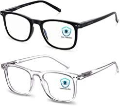 Blue Light Blocking Glasses, 2Pack Cut UV400 Computer Reading Glasses for Anti Eyestrain
