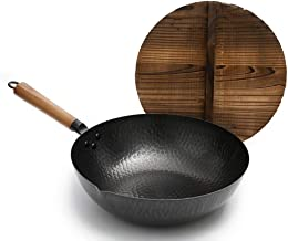 Pot Cooking Pots Pans Traditional Hand Hammered Iron Wok with Wooden,Pre-Seasoned Cast Iron Wok Pan with Chinese fir lid (12.6 Inch, Round Bottom),Black Frying Pan
