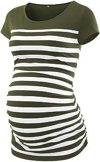 CareGabi Maternity Top Women's Short Sleeve Round Neck Striped Shirts