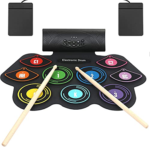 Anpro Electronic Drum Set Foldable Built-in Speaker,9 Pads Stereo Electronic Drum Kit with MIDI Portable Roll up Drum Pad,USB/Battery Charge for Kids and Beginners