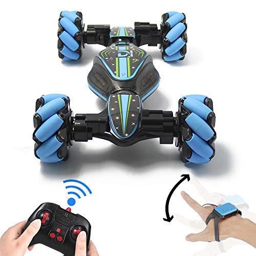 Goolsky RC Car 4WD RC Stunt Car Geländewagen RC Deformable All-Terrain Doppelseitiges Auto mit Gesten Sensor Uhr Lichter Musik Kinder Spielzeug