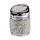 eing Portable Auto Car Cigarette Ashtray Ash Bling Crystal Smokeless Stand Cylinder Cup Holders,Silver