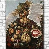 ZNNHEROOtoño (1) De Giuseppe Arcimboldo Póster Abstracto Impreso Lienzo Pintura Cuadro De Arte De Pared para Sala De Estar Decoración del Hogar-60X80Cmx1 Sin Marco