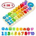Aitbay Wooden Number Puzzles Montessori Toys for Toddlers, Shape Sorting Math Counting Color Wood Stacking Blocks, Educational Preschool Homeshchool Learning Toys for 2 3 4 5 Years Old Boys Girls from Aitbay