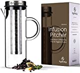 Cold Brew Coffee Maker - Large Glass Infusion Pitcher 1.6 Quarts 52oz - Iced Coffee & Iced Tea Pitcher with Stainless Steel Lid and Mesh Filter & Fruit Infusion Tube - Perfect for Home or Office