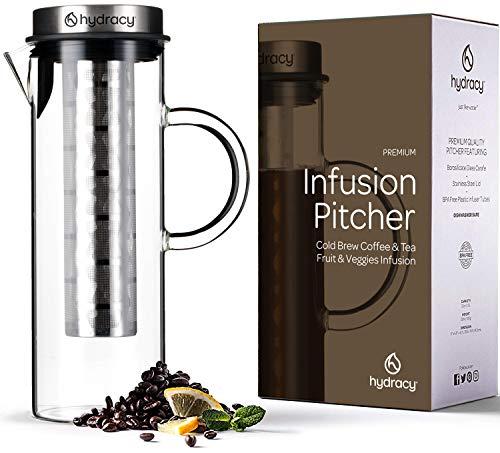 Cold Brew Cafetera de infusiónd e café y té fría - Jarra grande de cristal 1,5L - Jarra helado con tapa de acero inoxidable y filtro de malla - Tubo ADICIONAL para infusiones de frutas