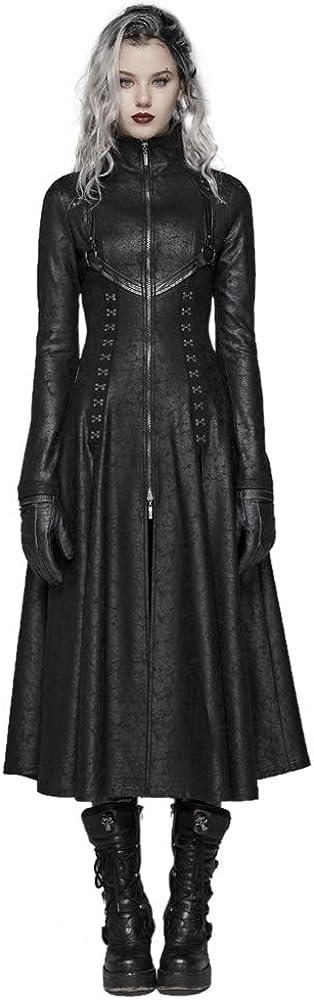 Seattle Mall Punk Rave Many popular brands Women Dark Long Coat Stand Retro Col Zipper Front