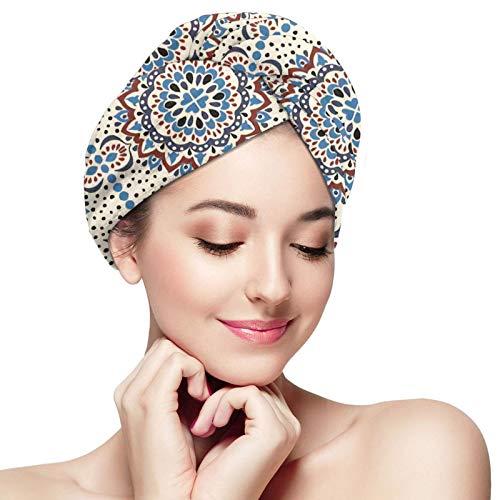 Talavera Azulejos Portugal Adorno Turco The Arts Toalla para el cabello de microfibra Envoltura Turbante absorbente Sombrero para el cabello de secado rápido Gorro de baño envuelto para mujeres