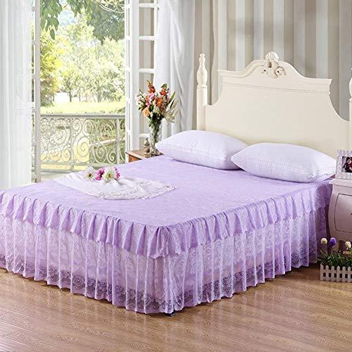 ZXYY beddensprei, van kant, rokken, met ruches, sprei, 17 inch, drop, bed, 150 x 200 cm