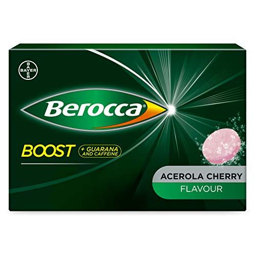 Berocca Boost Effervescent Tablets with Guarana, Caffeine and Vitamin B12, Also Contains Vitamin C and Magnesium, 1 Pack of 20 - 3 Weeks Supply