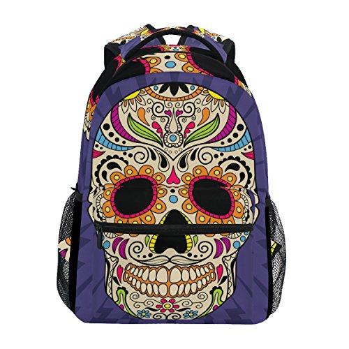 TIZORAX Mochila de calavera mexicana para la escuela, mochila de senderismo, mochila de viaje