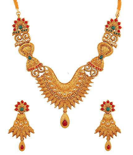 Touchstone Aleación étnica del Sur de la joyería India Falso rubí y Falso Esmeralda Conjunto de Collar de diseñador Nupcial para Mujer Multicolor