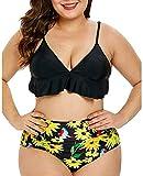 Saoye Fashion Costume da Bagno Biancheria Intima delle Donna Calde di Grande Giovane Abiti Meridiana della Stampa del Bikini Due Pezzi Costume da Bagno Vita Alta Bikini Bottom Set Volant
