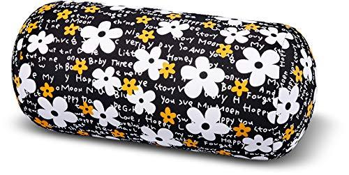 Kuschel-Maxx Rolle Relaxkissen Flower Black 5238, schwarz bunt, 33x17
