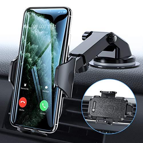 VICSEED KFZ Handyhalterung Auto, [Hält Bombenfest] 3 in 1 Handyhalter Auto Saugnapf mit Lüftungclips, Langer Arm 360° Drehung Universale Handy Halterung Pkw Zubehör für Alle Smartphones
